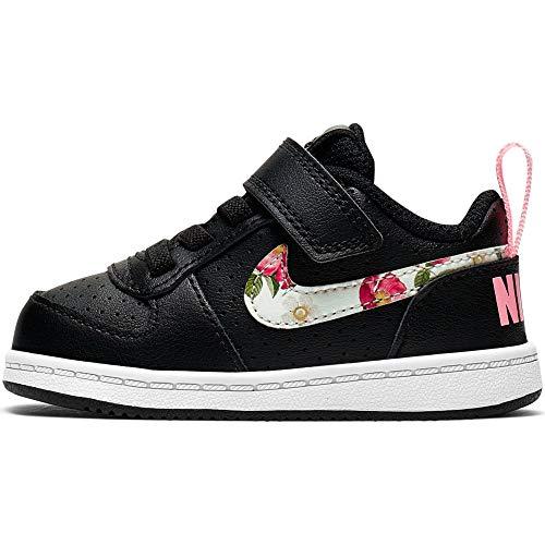 Nike Baby Mädchen Court Borough Low VF (TDV) Sneaker, Mehrfarbig (Black/Pale Ivory-Pink Tint 001), 27 EU