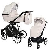Kunert cochecito de beb茅 MOLTO PREMIUM silla de paseo silla de coche asiento de beb茅 juego completo 2 en 1 (Crema, Color del marco: Plata, 2en1)