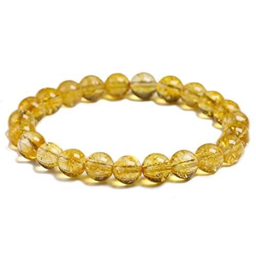 Vottle Piedra citrina Amarilla Natural 6mm 8mm 10mm Pulsera de Cuentas de Cuarzo Hecho a Mano para Mujer Hombre Brazalete elástico Unisex