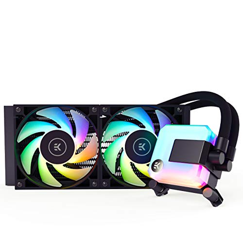 EK 240mm AIO D-RGB All-in-One Liquid CPU Cooler with EK-Vardar High-Performance PMW Fans, Water Cooling Computer Parts, 120mm Fan, Intel 115X/1200/2066, AMD AM4