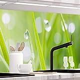 StickerProfis Küchenrückwand selbstklebend - MODERN Grass - 1.5mm, Versteift, alle Untergründe, Hart PET Material, Premium 60 x 220cm