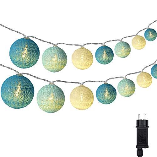 Cotton Ball Lichterkette, DeepDream 4.5m 20 LED Kugeln Lichterkette Innen Lichterkette Baumwollkugeln Lichterkette mit Stecker für Kinderzimmer, Schlafzimmer, Hochzeit, Party, Festival (Blau)