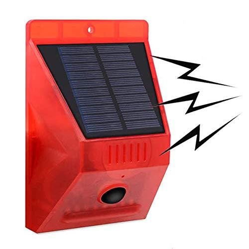 PopHMN ソーラー警告灯 屋外ソーラー充電 自動モーションセンサーライト 防水 アラーム リモコン 盗難防止 赤色LEDフラッシュ ワイヤレス リモートセキュリティアラームライト 工場倉庫/庭/に適しています ヴィラの玄関