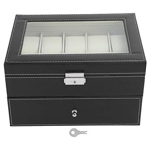 Caja de reloj, caja de reloj de cuero, organizador de reloj de cuero de PU Vitrina de reloj de doble capa para exhibición de hombres de almacenamiento