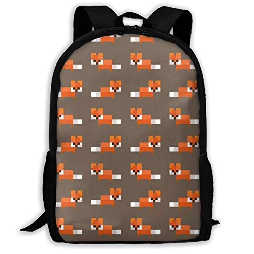 XCNGG Pixel Foxes Pattern School Bag Teenager Casual Sports Backpack Men Women Student Travel Hiking Laptop Backpack