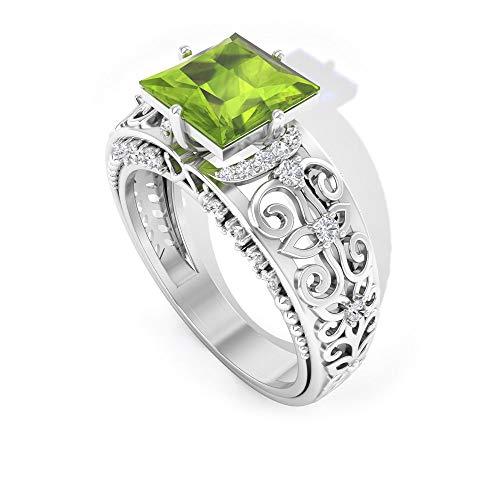 Anillo de peridoto y diamante de 2 CT creado en laboratorio, anillo solitario vintage, anillo de filigrana enagagement (7 mm, corte princesa, 14K Oro amarillo, Size:EU 67