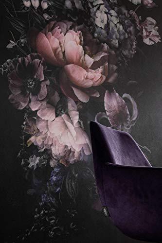 Fototapete Blumen Rosa Schwarz Bunt Landhaus Blumen SCHÖNER WOHNEN-Kollektion Serie Traces - 2,70m x 1,59m - Made in Germany Premium Qualität