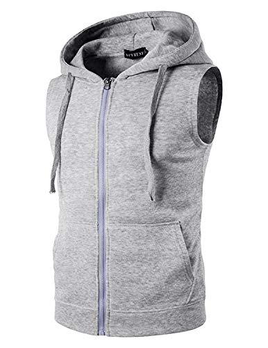YCUEUST Hombre Sudaderas con Capucha Sin Mangas Camiseta Casual Chalecos Deportivos Gris Claro x-Large