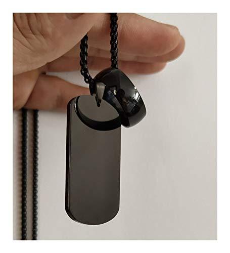 Présent Pendentif Joyería de acero inoxidable 316L Placa de identificación Negro Círculo collar de los colgantes de cadena del grano for el hombre collar de Collier ( Metal Color : Arc Black 8mm )