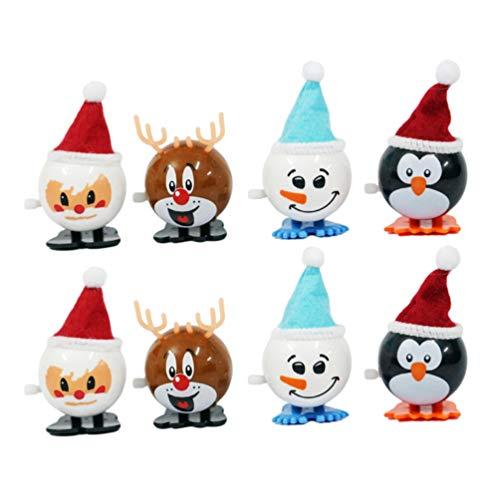 Toyvian Weihnachten Wickeln Spielzeug zu Fuß Santa Uhrwerk Spielzeug Hirsch Pinguin Schneemann Lieferungen für Kinder Kinder Parteibevorzugung 8pcs