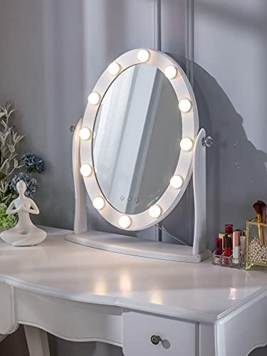 LUXFURNI Hollywood Espejo de maquillaje vintage iluminado con 12 luces LED, control táctil regulable frío/luz cálida, ángulo ajustable para tocador
