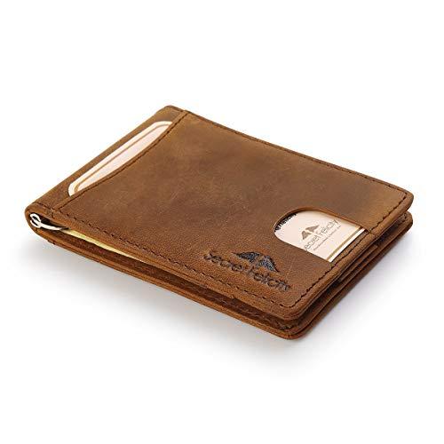 RFID Blocker Geldbörse mit Geldklipp aus Rinderleder. Kompakt mit Fächern für Kreditkarten, Ausweise im Scheckkartenformat und Geld mit eingebautem Schutz gegen elektronischen Zugriff (Braun)