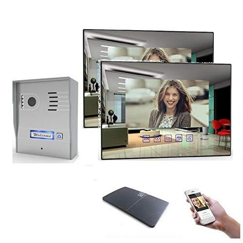 2 Draht Video Türsprechanlage Gegensprechanlage mit 7'' Monitor Aufputz, Farbe: Mit, Größe: 2x7'' Monitor mit WLAN Schnittstelle