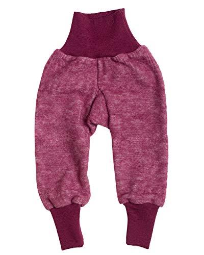 Cosilana Baby Hose mit Bund aus weichem Wollfleece, 60% Schurwolle kbT, 40% Baumwolle (KBA) (98/104, Weinrot Melange)