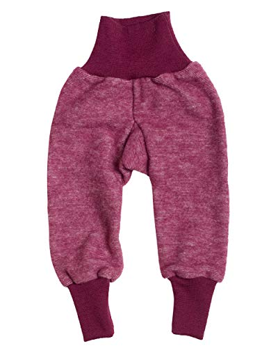 Cosilana Baby Hose mit Bund aus weichem Wollfleece, 60% Schurwolle kbT, 40% Baumwolle (KBA) (50/56, Weinrot Melange)