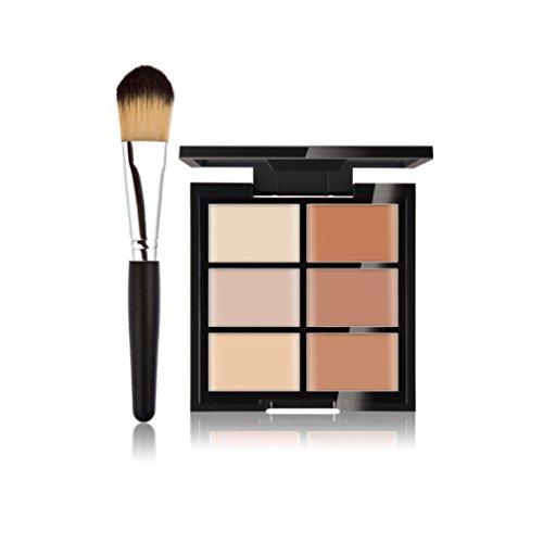 FantasyDay® 6 Farben Creme Concealer Make-up Palette Gesichtscreme Foundation Contouring Abdeckcreme Camouflage Palette + 1 Stück Professionelle Foundation Concealer Makeup Pinsel #2