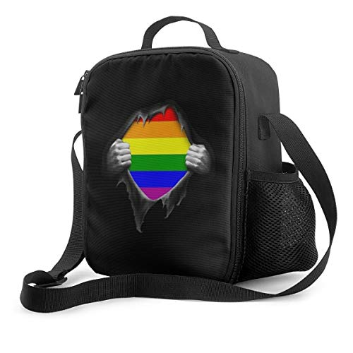 NiYoung Boys Girls Premium Compact Lunch Box Totebag Gay Pride Rainbow LGBT Pull Apart Black Mom Bag Leakproof Insulated Thermal Container for School Work Office Outdoor Picnic Meal Prep
