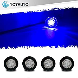 TCTAuto Waterproof Lights for Boats Livewell Baittank Courtesy Accent Exterior Interior Lighting Mini Button IP68 Submersible 12V Blue Thru Hull Lights, Pack of 4