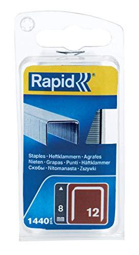 Rapid, 40109568, Agrafes en fil fin N°12, Longueur 8mm, 1440 pièces, Pour les travaux de tissu d'ameublement, Fil galvanisé, Haute performance Gris