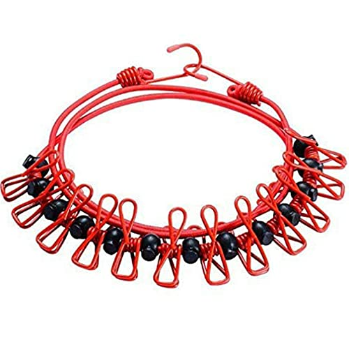 SeniorMar-UK Tendedero elástico de Viaje portátil de 12 Piezas, tendedero Ajustable con Pinzas para la Ropa para Uso en Interiores y Exteriores Rojo 180cm