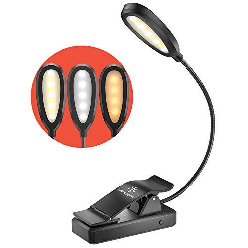LENCENT 9 LED para livro, 3 cores e 9 modos de brilho (LEDs quentes e brancos) Luz de leitura de clipe recarregável USB para crianças, clipe na lâmpada embutida na bateria para livro, viagens, etc. [Cabo USB incl]