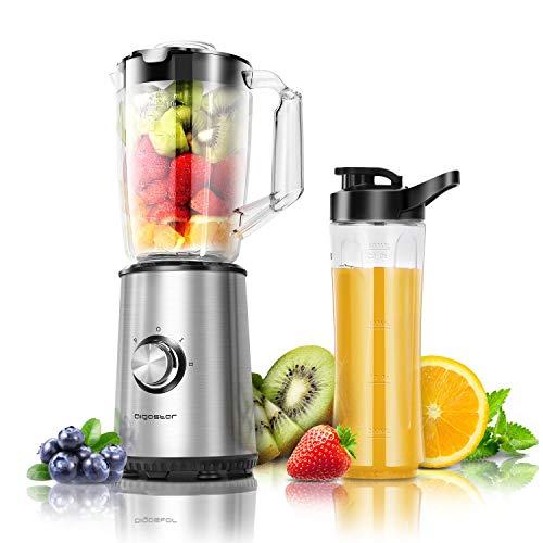 Aigostar Mixer Smoothie Maker, Edelstahl Standmixer mit 1 Liter Kapazität und 600ml Tritan-Kunststoff Flaschen, Mini Blender für Shake, Smoothie, Obst und Gemüse, 350 Watt, Silber