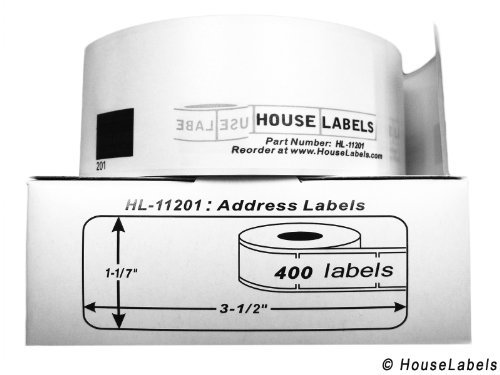 """Generic Address Labels with ONE Reusable Black Cartridge Compatible w/ Brother Dk-1201 (1-1/7"""" X 3-1/2""""; 29mm90mm) BPA Free (5 Rolls; 400 Labels Per Roll)"""