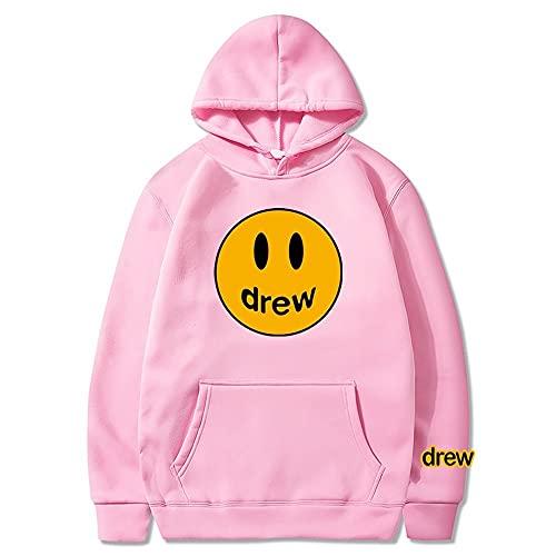 JESMIA Drew House Hoodie Merch Bieber Smiley Face Hoodies Hip Hop Trendy Couples Sweatshirt Tracksuit Sweater for Men Women (pink2,XXXL)