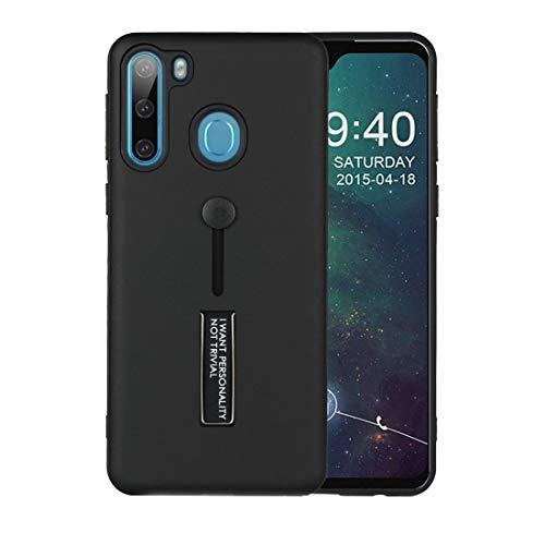 WANTONG Funda de Piel for Samsung Galaxy A21 Aceite Siente a Prueba de Golpes TPU + PC Funda Protectora con Titular (Color : Black)