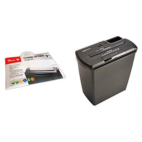 Peach PS100-00 Aktenvernichter Service Kit | 12 Ölpapiere | Aktenvernichterpflege | für hohe Schneidleistung | einfache Handhabung & AmazonBasics Aktenvernichter, 8 Blatt,Streifenschnitt,CD-Schredder