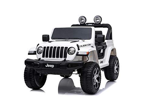 Mondial Toys Auto ELETTRICA 12V per Bambini 2 POSTI Jeep Wrangler Rubicon con Telecomando 2.4G Soft Start AMMORTIZZATORI Full Optional Bianco