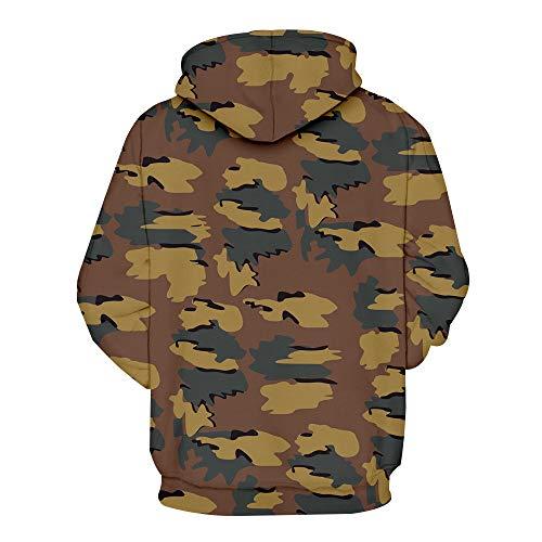 PRJN Mens Long Sleeve Camouflage Hoodie Hooded Sweatshirt Tops Jacket Coat Outwear Men's Pullover Fleece Sweatshirt Camouflage Hoodies Men Camo Hoodie Fashion Camouflage Printed Long Sleeve Sweater