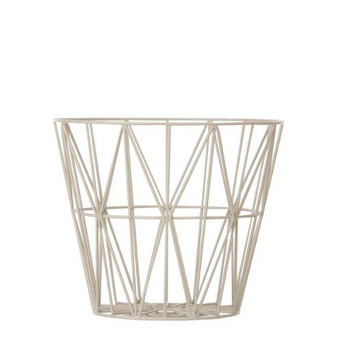 Ferm Living Korb Aufbewahrungskorb Wire Basket - Grey - Medium Grau/mit der Fem Living Tischplatte Wird EIN Beistelltisch daraus
