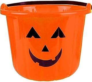 """Amscan 3 Count Sweet Treats Halloween Pumpkin Bucket Orange Party Favor, Plastic, 6"""" x 8"""""""