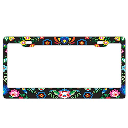 "Promini Abstract Mexican Sugar Skull License Plate Frame Car License Plate Covers Auto Tag Holder 6"" x 12"""