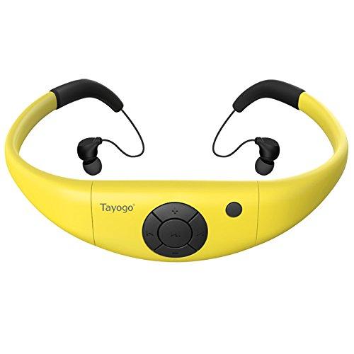 Tayogo MP3-Player, wasserdicht, mit Kopfhörern, 8 GB IPX8 Hi 3 m unter Wasser schwimmen Wasserdicht 60 ℃ ideal zum Laufen, Reiten und andere Spa mit Wasser oder Sweat (Gelb-R)-MEHRWEG