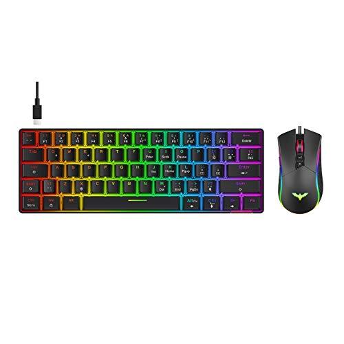havit 60% Mechanische Tastatur und Mausmit Kabel, Type C kabelgebundene 61 Tasten Gaming Tastatur QWERTY mit Rot Schalter, Programmierbare RGB Gaming Maus (KB611L)