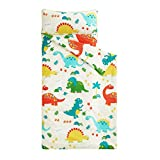 Wake In Cloud - Nap Mat with Removable Pillow for Kids Toddler Boys Girls Daycare Preschool Kindergarten Sleeping Bag, Dinosaurs Printed on Ivory Cream, 100% Cotton with Microfiber Fill