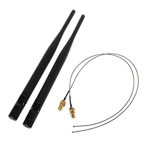 planuuik 2x 6dBi M.2 IPEX MHF4 U.fl Kabel naar RP-SMA Wifi Antenne Signaal Kabel Set voor AC 9260 9560 8265 8260 7265 7260 NGFF M.2 Kaart