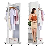OUTDOOR DOIT Full Length Dressing Mirror with Clothes Valet Stand, Freestanding Floor Mirror with Lockable Movable Universal Wheels (White)