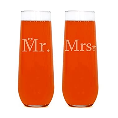 Couples Wedding Champagne Flutes (Mr. & Mrs. Stemless Flute)