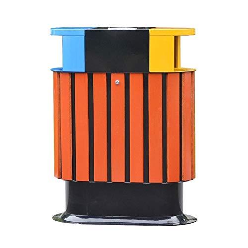 LOMJK Papeleras Basura de Madera con Barril Interior y cenicero, contenedores de clasificación de 3 Colores de Reciclaje para Uso Exterior o Comercial Cubos de Basura