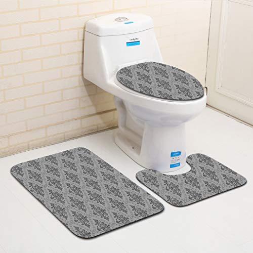 OMUSAKA Set di tappeti per Toilette Modello Classico Europeo Set Antiscivolo Elegante Assorbente di Acqua Durevole Spugna copriwater