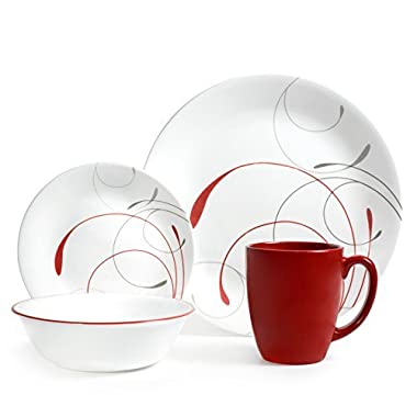 Corelle 16 Piece Splendor Coupe Livingware Dinnerware Set, Red