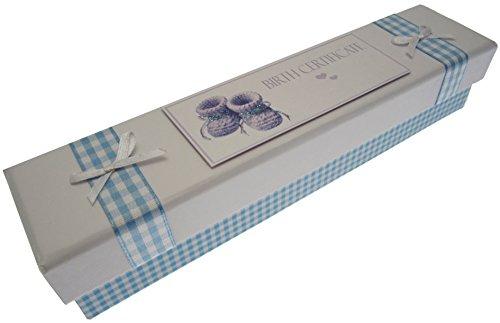 Blanc Coton Cartes d'acte de naissance Chaussons (Bleu)