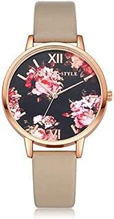 Elegant Watches for Women Fashion Luxury Lady Watch P086Leather Strap Flower Dial Quartz Wrist Watch Female Belt Watch (Color : Beige+Rose Gold)