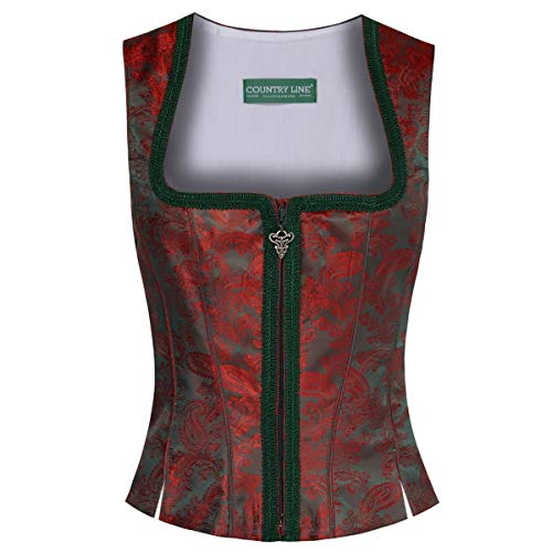 Country-Line Damen Trachten-Mode Mieder Rosemarie in Dunkelgrün traditionell, Größe:32, Farbe:Dunkelgrün