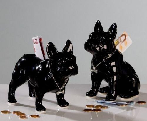 Laure TERRIER Ceramic Piggy Bank. Standing French Bulldog, Black Model. Length 7,8 inches