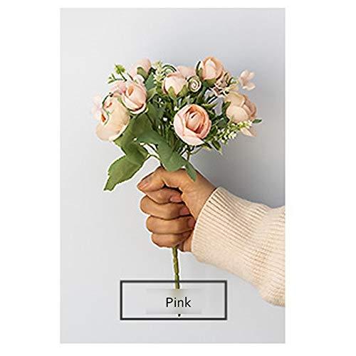 ZCMTD Bouquet di Fiori Artificiali di Seta Rosa per la Decorazione Fiori Finti Cina Bianchi per la Casa Bomboniera Decor Fiore Finto Rosa Rosa