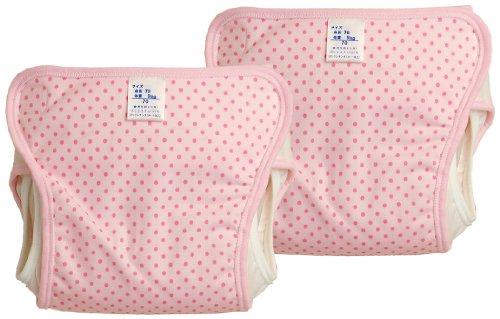 日本製 2枚組 水玉柄 おむつカバー 70cm ピンク JF203B